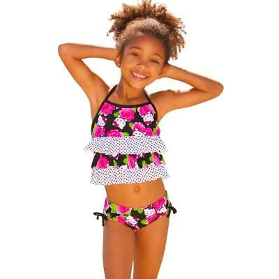 Sanrio Hello Kitty Black /& Pink Roses Ruffle Top 2 piece Swimsuit Girl Youth