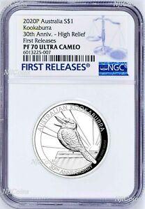 2020-Australia-HIGH-RELIEF-1oz-Silver-Kookaburra-30-Ann-1-Coin-NGC-PF70-OGP-FR