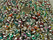 1/2 POUND LOT ASSORTED COLOR MIRROR METALLIC GLASS BEADS (082820153)