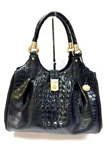 Croc de Brahmin Elisa Patterned mano bolso Leather Black Melbourne R7qazT