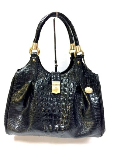 bolso Elisa Black Brahmin Croc Melbourne Leather Patterned mano de qBPWZY