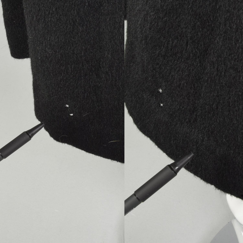 Large 1950s Princess Coat Black Wool Batwing Dolm… - image 9