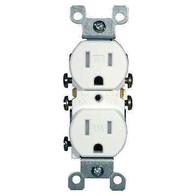 Leviton 15 Amp Tamper-Resistant Duplex Outlet Socket Receptacle, White (10-Pack)