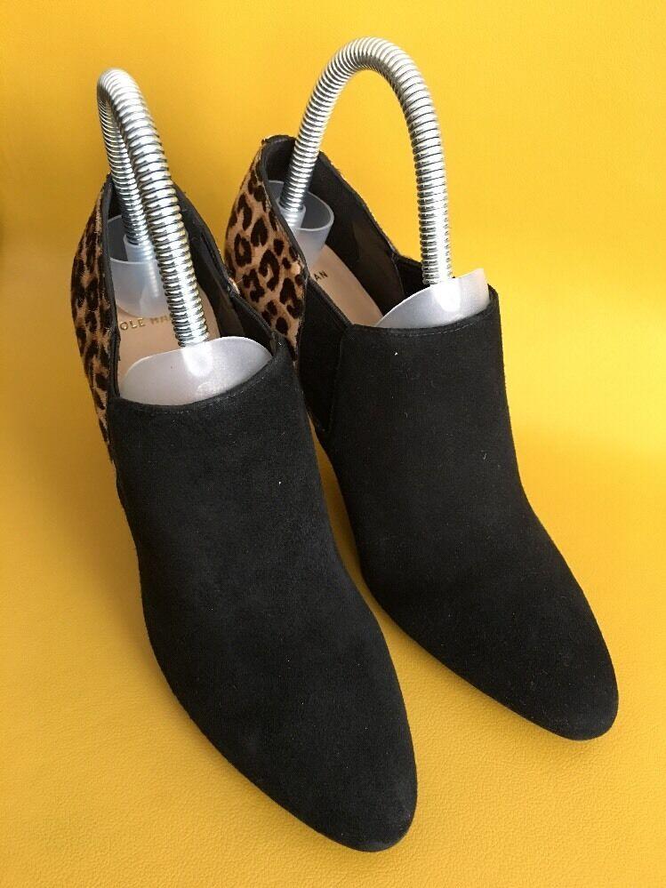 COLE COLE COLE HAAN Black Animal Print Fur  Bootie Heels Size 6 12f126