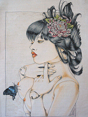 NUDE GEISHA SERIES! SURREALISM NEEDLEPOINT TAPESTRY PAINTING:MADAM BUTTERFLY =