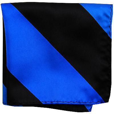 Brioso Nuovo Da Uomo Poliestere Righe Tasca Quadrato Fazzoletto Blu Royal Nero
