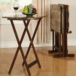 TV Tray Table Set Brown Faux Marble Dining Snacks Crafts Reading