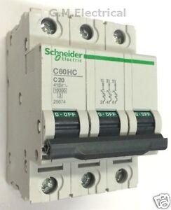 SCHNEIDER 20 AMP TYPE C 20A TRIPLE POLE 3 PHASE MCB C60HC320 MERLIN ...