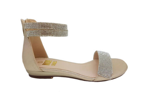 Ladies Shoe No Shoes Glam Zip Up Sandals with Diamantes Size 6-10 Black or Gold