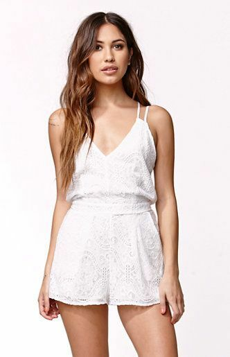 Kendall & Kylie Strappy White Lace Knit Eyelet Summer Romper M Medium  SO CUTE