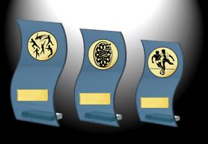 = 13cm 18cm Serie vetro premiazioni trofeo H 3 supporto in vetro con emblema e scudo