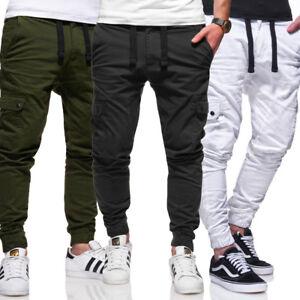 Behype-Chino-Pants-Jogger-Cargo-Pant-Jogging-Pantaloni-Grigio-Scuro-Cachi-Bianco-Nuovo