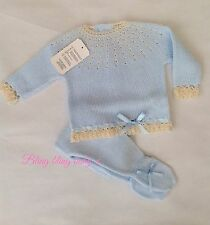 Spanish Romany Baby Boys Bow Knitted Romper Babygrow  Set Blue 3-6 Months