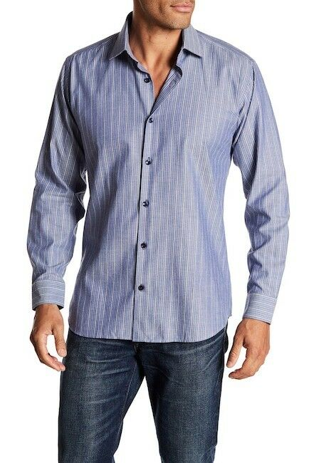 Jared Lang Men's bluee Multi-color Stripe Pattern Button Front Shirt