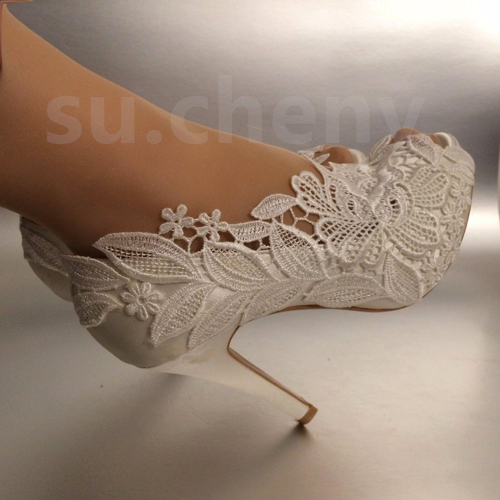 "3"" 4"" heel white ivory silk lace open Bride toe crystal Wedding shoes Bride open size 5-11 8ee498"
