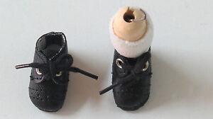 """Chaussures cuir """" Loulotte""""  37/17  """"Rustique""""  Noir      pour poupées anciennes"""