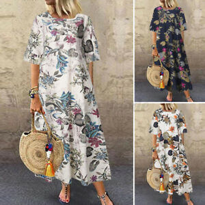 UK-Womens-Summer-Short-Sleeve-Floral-Print-Cotton-Casual-Loose-Kaftan-Midi-Dress