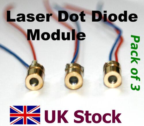 Laser Dot Diode Module, Pack of 3, 650nm, 3v or 5v, Red  - UK Stock