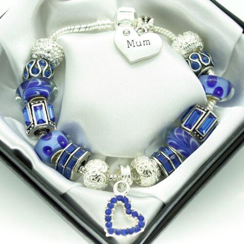 Womens Blue Bracelet PERSONALISED Jewellery Birthday Gifts Mum Daughter Nana