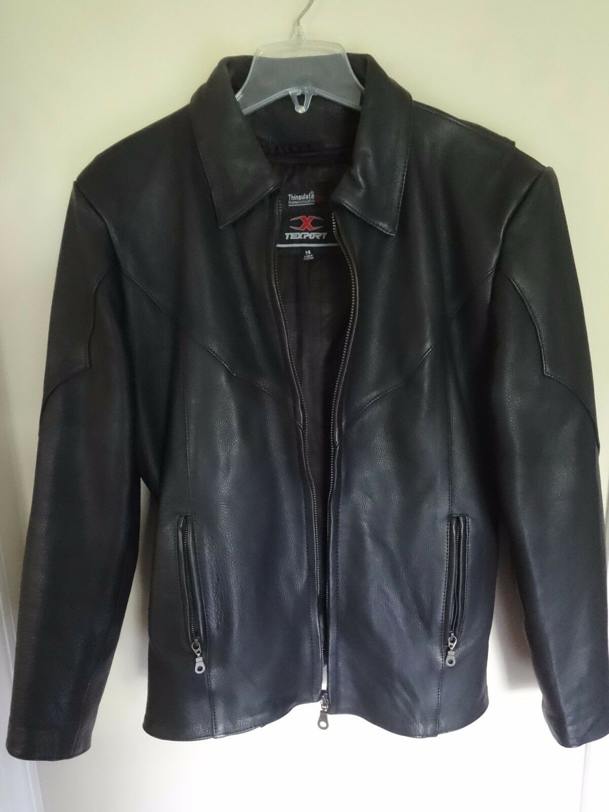 Nice TexPort Women Size 14 Thinsulate 3M Insulated Leather Coat Zipped Front