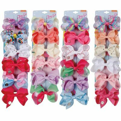 6 Pcs//Set Big Rainbow Printed Knot Ribbon Bow Hair Chip For Kids Girls Toddler