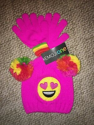 Emojione Girls Knit Beanie /& Gloves Set