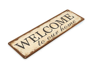 TIN-SIGN-Welcome-Home-Metal-Decor-Wall-Art-Store-Shop-Cottage-A673