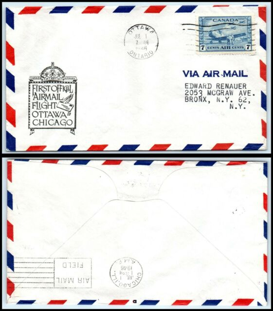1946 CANADA First Flight Air Mail Cover- Ottawa to Chicago, IL USA N13