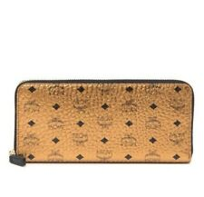 BRAND NEW WOMEN/'S MCM LARGE ZIP AROUND GOLD EMBOSSED MONOGRAMMED VISETOS WALLET