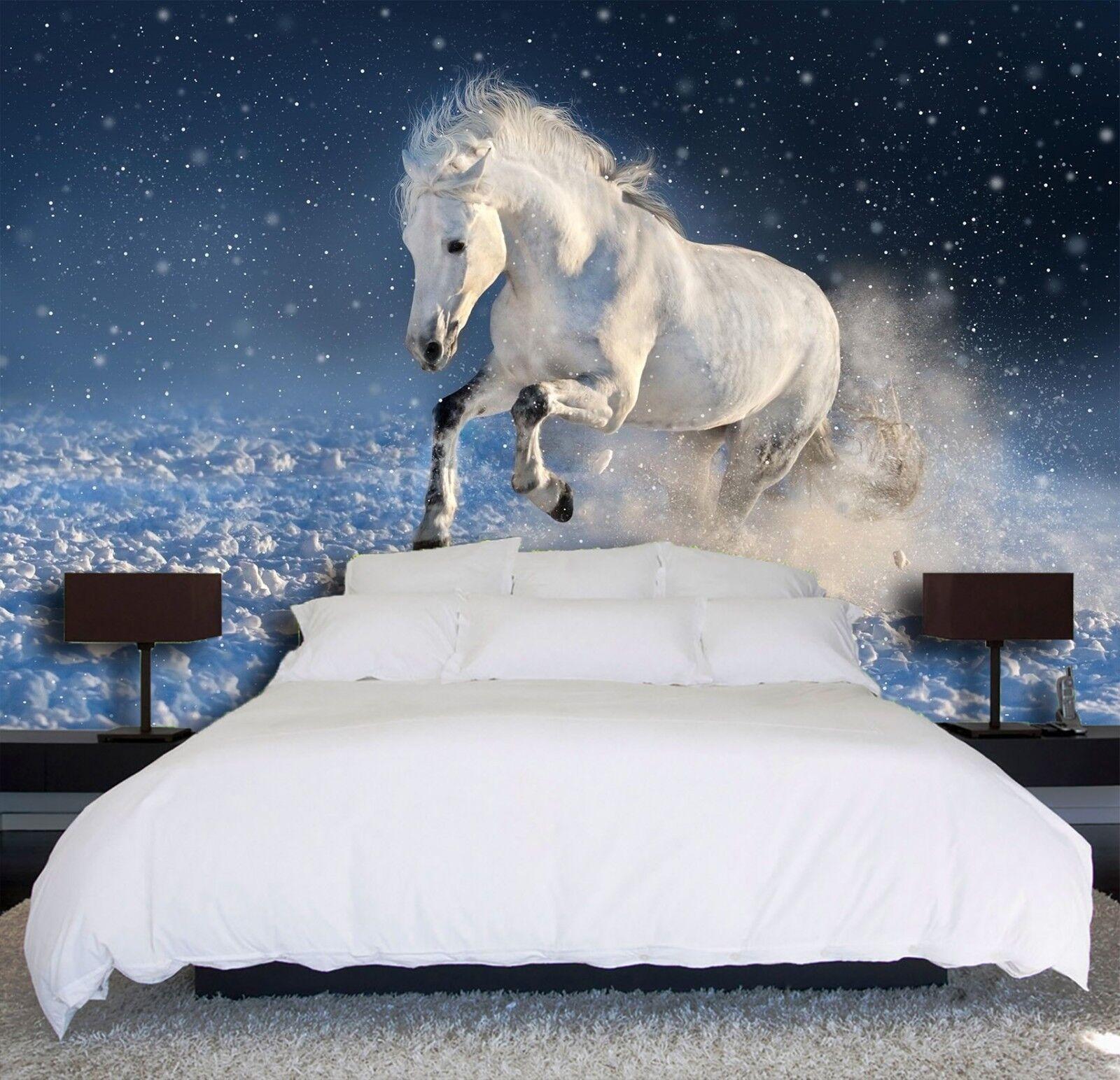 3D Weiß Horse  7151 Wallpaper Mural Wall Print Wall Wallpaper Murals US Lemon