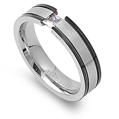Men/'s White CZ Tension Ring Polished Stainless Steel Band New 5mm Sizes 7-12