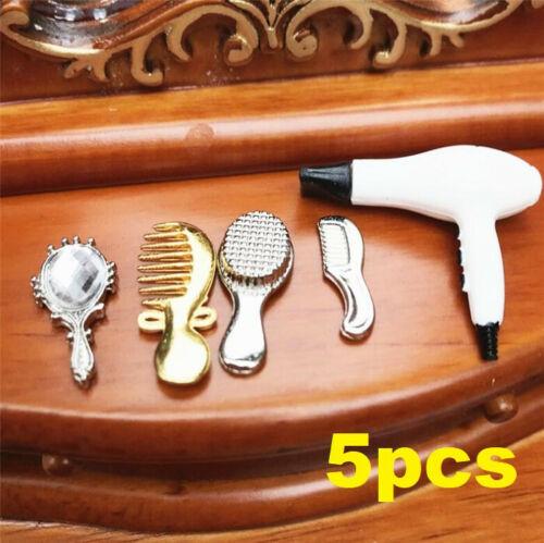 1:12 Dollhouse Miniature Furniture Bathroom Combs Hair Dryer Mirror 5Pcs Set