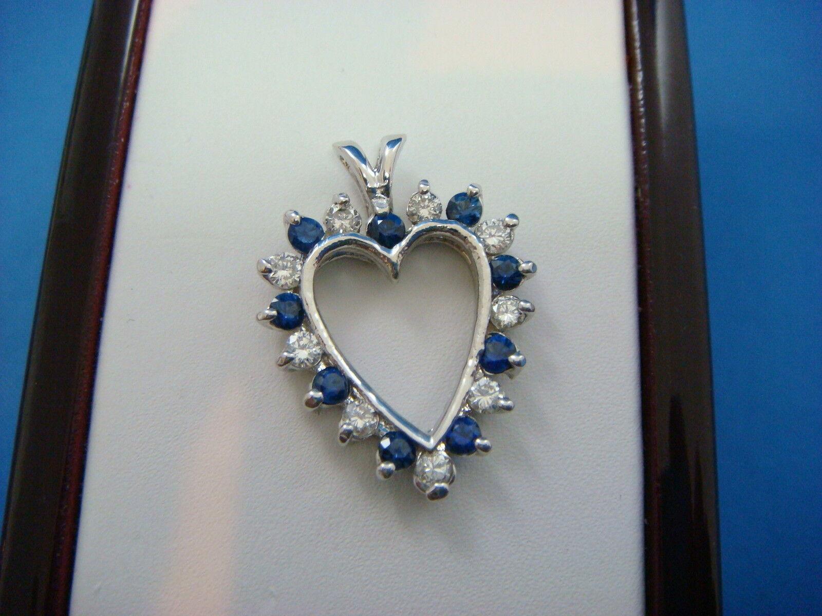 BEAUTIFUL 14K gold 1.20 CARAT T.W. SAPPHIRE AND DIAMONDS HEART SHAPED PENDANT
