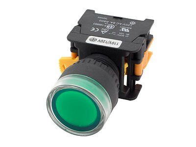 LXG22 ATI Green 22mm Push Button Momentary Switch Illuminated 120V LED NO