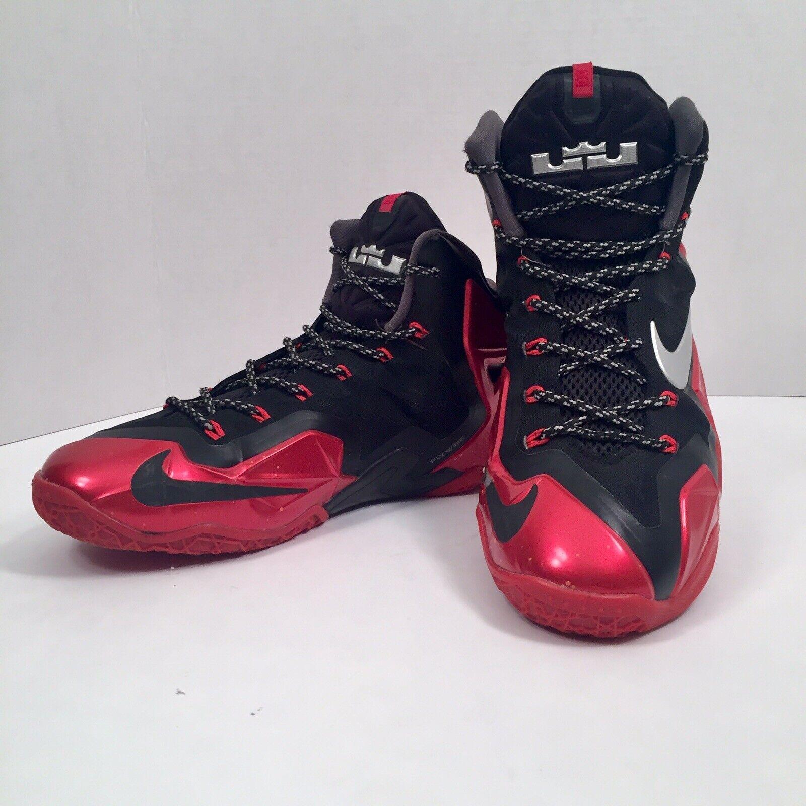 Detallado jefe Valle  Nike Lebron XI 11 Flywire Miami Heat Away Black Red & Silver ...
