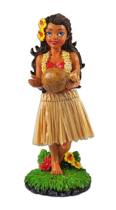 Image 1 - Dashboard Hula Girl Doll Playing Ipu Natural Skirt Hawaiian Hawaii Island Gift N