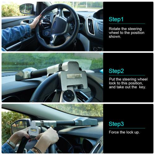 Universal Black Car Steering Wheel Anti Theft  Security Alarm Lock Retractable