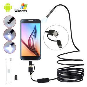 Endoscopio 3 in 1 USB//tipo C endoscopio telecamera di ispezione impermeabile nero cavo serpente per Android Phone PC HD 640 x 480