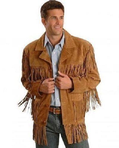 Hombres el Cowboy Marrón Cuero de Gamuza Chaqueta Flecos Flecos Flecos Occidental Vestir 2902f9