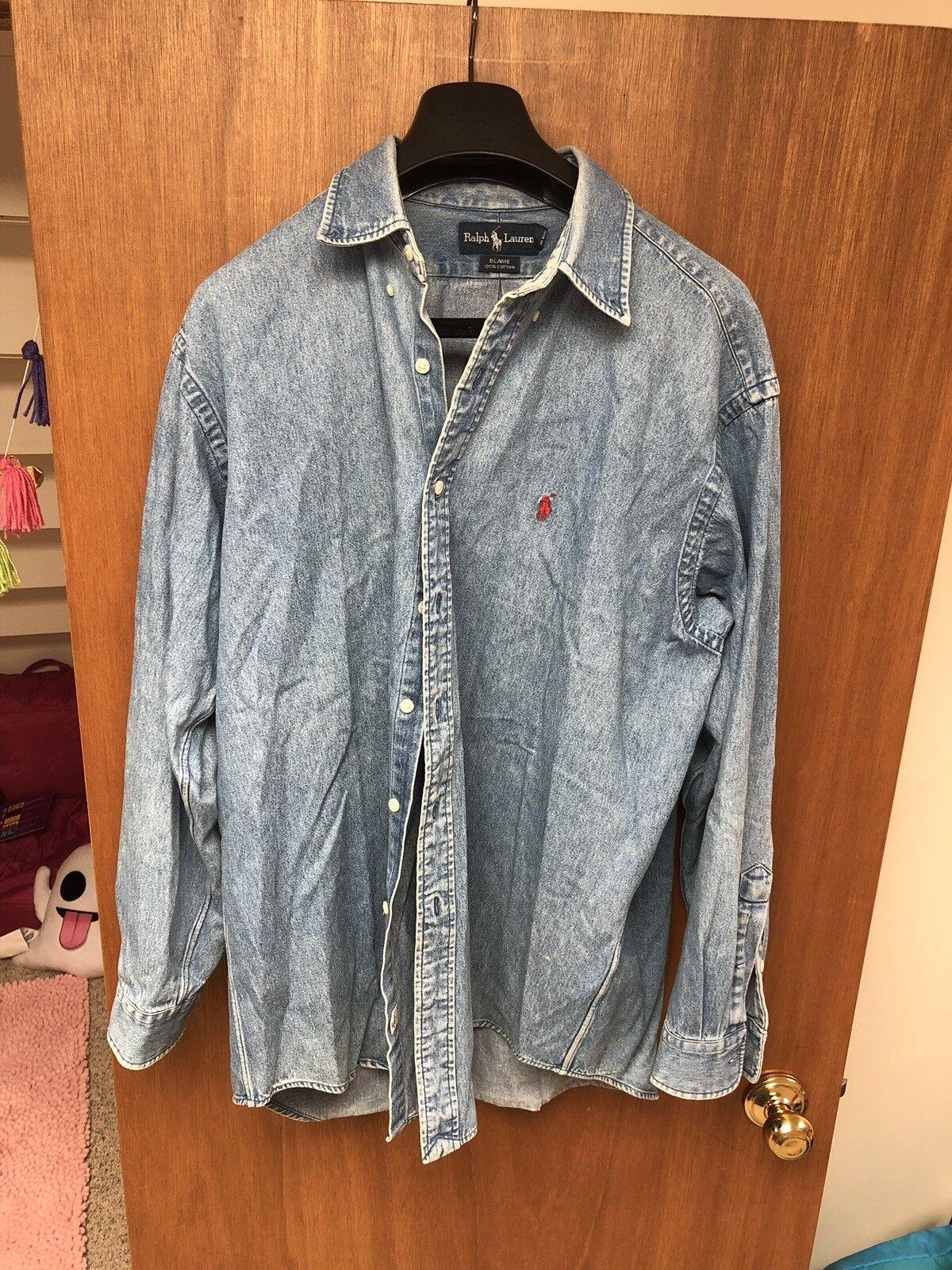 d9bbecb4a Vintage Ralph Lauren Blake Shirt Large 80s 90s Rare Denim Mens ...