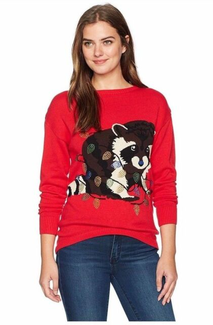 Isabellas Closet Womens Raccoon Ugly Christmas Sweater Size Xl Ebay