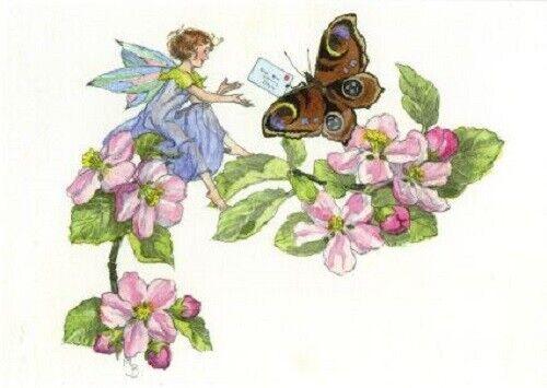 MOLLY BRETT*Postkarte*Nostalgie*Fee/&Fairy*Blumen*Schmetterling*A6