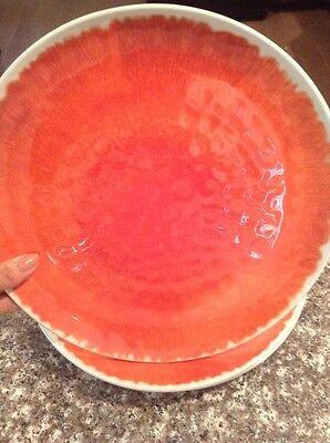 PIER 1 Waterways Coral  MELAMINE 4 pc DINNER PLATES