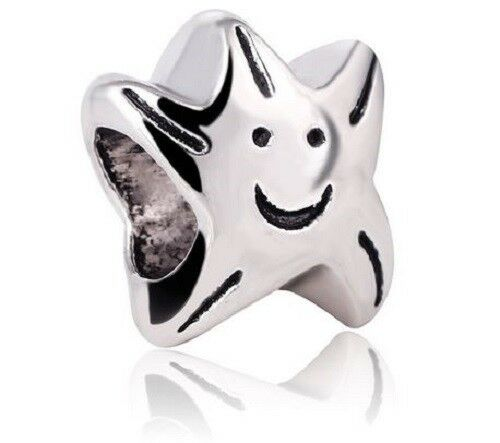 Smiling Face Star Charm Bead For Bracelet Or Necklace