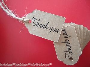 10 Kraft White Gift Favour Tags Wedding Favour Party Bomboniere Thank you