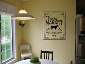 Farmer-039-s-Market-KITCHEN-Vinyl-Wall-Decal-Farmhouse-Decal-Vintage-Cow-Lettering