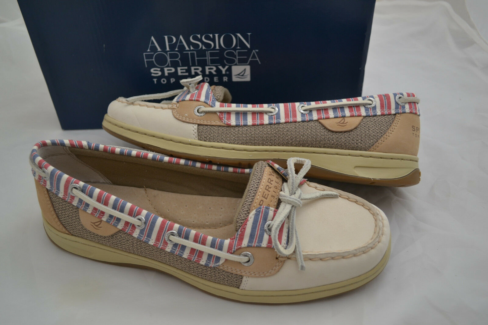 NIB Sperry Top Sider ANGELFISH Ivory/Stripe Boat Schuhes - Größe 9