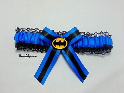 Batman Blu Pizzo Nuziale Matrimonio Giarrettiera. Squadra Suicida.-mostra Il Titolo Originale Sii Amichevole In Uso