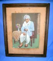 Antique Old Rare Original Signed Tribal Indian Men Portrait Canvas Oil Painting