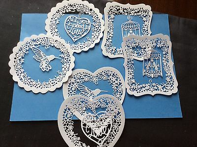 12 Die Cuts. TATTERED LACE In PURE WHITE. THREE Shapes, 2 Sets Each Card Toppers